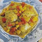 Ravioli ai ceci con salsa di peperoni